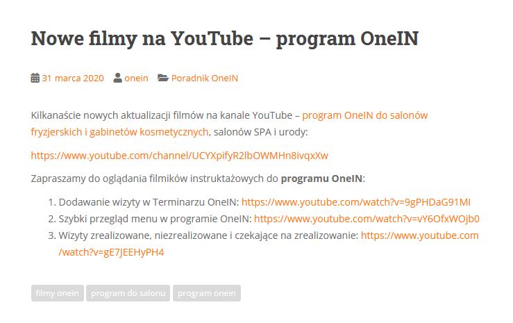 Filmy na YouTube programu OneIN do salonów